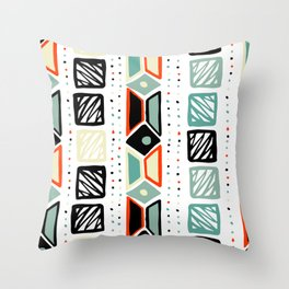 Abstract geometrical black orange ivory green squares polka dots Throw Pillow