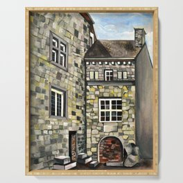 Fantastical Picturesque Hand-Painted Castle in Liege Belgium Serving Tray