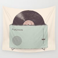 high Wall Tapestries featuring High Fidelity Toaster by Florent Bodart / Speakerine