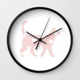 Heart cat Wall Clock