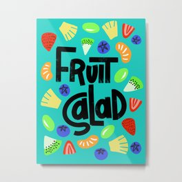 Fruit salad strawberry pineapple grape kiwi orange blueberry Metal Print