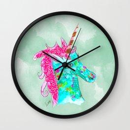 Unicorn on aqua watercolour Wall Clock