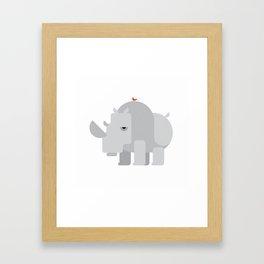 Minimalistic wildlife 02 – Rhino Framed Art Print