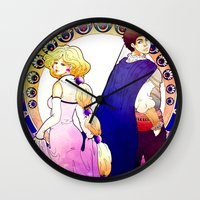 art nouveau Wall Clocks featuring Art Nouveau by Golden Crown