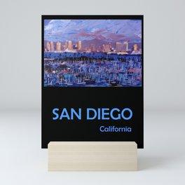 Retro Travel Poster San Diego California Mini Art Print