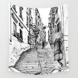 Naples Stairs Wall Tapestry