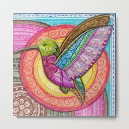 Stitched Hummingbird Metal Print
