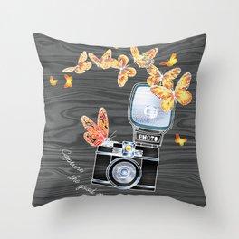 Aesthetic Old School Camera Throw Pillow