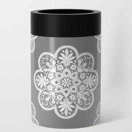 Floral Doily Pattern | Grey and White Can Cooler