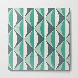 Modern Geometry in Green Metal Print