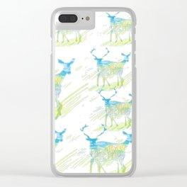 Deer Pattern Clear iPhone Case