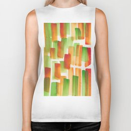 Stripe Orange  | 190213 Watercolour Abstract Painting Biker Tank