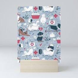 Veterinary medicine, happy and healthy friends // pastel blue background Mini Art Print