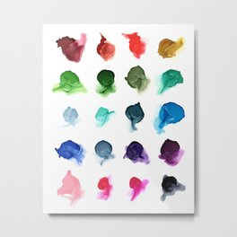 Rainbow Ink Swatch Splotches Painting Metal Print