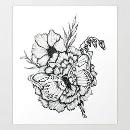 Fluttering Ink Art Print