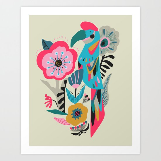 PARROT AT THE GARDEN Art Print