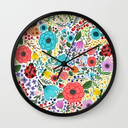 Colorful Vintage Spring Flowers Wall Clock