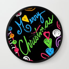 A Doodle Merry Christmas Wall Clock