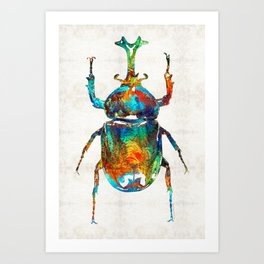 Colorful Beetle Art - Scarab Beauty - By Sharon Cummings Art Print