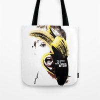 miley cyrus Tote Bags featuring Miley Cyrus  by franziskooo