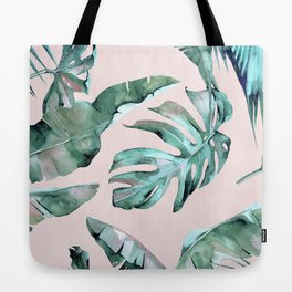 Tropical Palm Leaves Turquoise Green Coral Pink Tote Bag