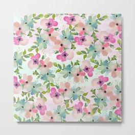 Modern teal pink watercolor hand painted floral Metal Print