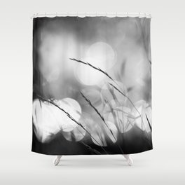 Blade of Grass - Bokeh Background - Black and White #decor #society6 #buyart Shower Curtain
