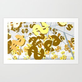 Golden dollar sign Art Print