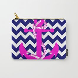Blue White Chevron Pink Anchor Carry-All Pouch