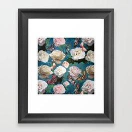 White Roses and Butterflies Framed Art Print