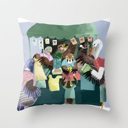 A day in the market Throw Pillow