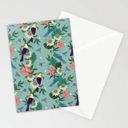 Toucans and Parrots in the Passion Flowers Stationery Cards
