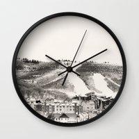 ski Wall Clocks featuring Ski Town by Patti Toth McCormick