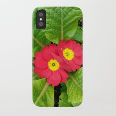 Little red primula flower iPhone X Slim Case