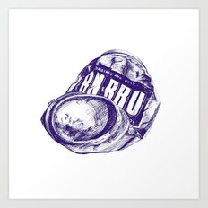 Irn Bru can pen drawing (blue) Art Print