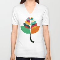 lotus V-neck T-shirts featuring Lotus flower by Picomodi