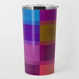 blue pink green purple pixel background Travel Mug