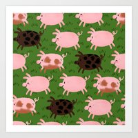 pigs Art Prints featuring Pigs by Paper Bicycle