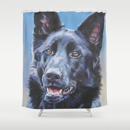 black German Shepherd dog portrait art from an original painting by L.A.Shepard Shower Curtain