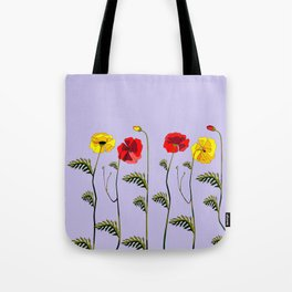 A Garden of Red and Yellow Poppies Tote Bag
