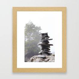 West Coast Inukshuk with Cedar Trees  #decor #society6 #buyart Framed Art Print