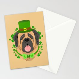 English Mastiff St Paddys Day Dog Stationery Cards