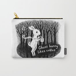 Ghost bunny likes coffee Carry-All Pouch