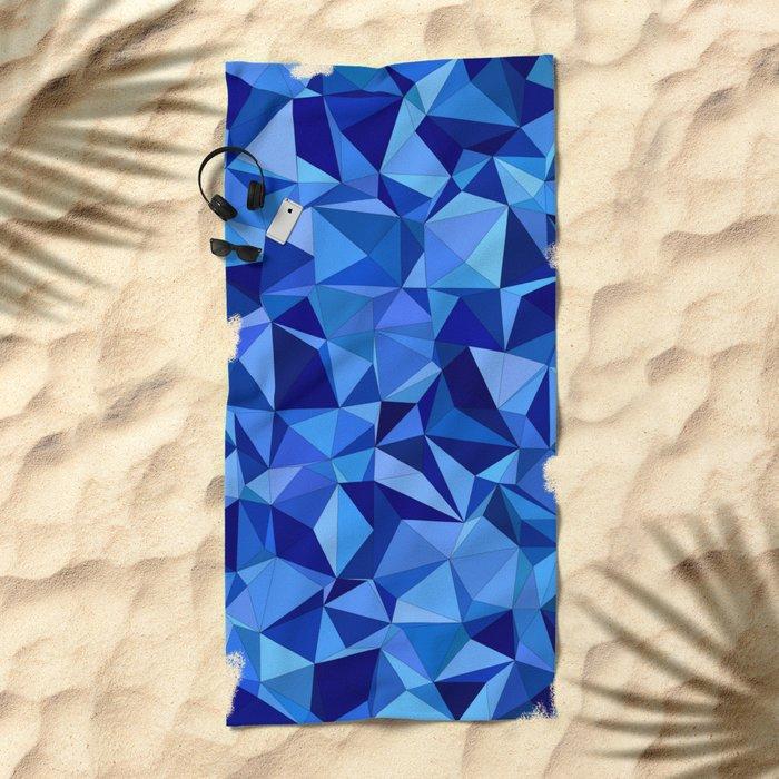 Blue tile mosaic Beach Towel