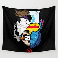 x men Wall Tapestries featuring X Men Mash Up by offbeatzombie