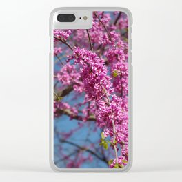 Blue skies and redbud in spring Clear iPhone Case