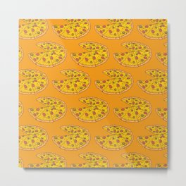 Love Pizza Pattern Love Pizza Fast Food Metal Print