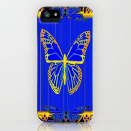 Lapis Blue & Gold Monarch Western Art design iPhone Case
