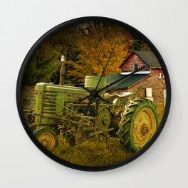 Old Vintage John Deere Tractor on a Farm Wall Clock
