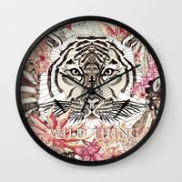 tiger Wall Clocks featuring TIGER by Monika Strigel